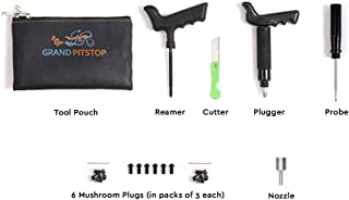 GrandPitstop Tubeless Tire Puncture Repair Kit for Motorcycle and Cars with 6 Mushroom Plugs