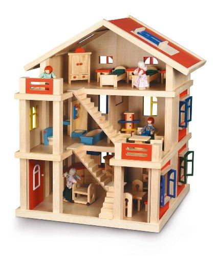 Bayer Chic 2000 293 01 poppenhuis 3 verdiepingen van hout, volledig gestoffeerd, rood