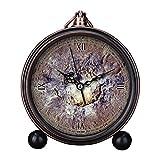 girlsight Reloj despertador con diseño retro para sala de estar, fácil de leer, cuarzo, analógico, mesa de noche, reloj despertador, esfera de reloj floral, color B4415.