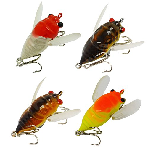 LPATTERN 4pcs Fishing Tackle Lure Snakehead Bass Killer Insect Freshwater Crank baits 6.6g/5cm