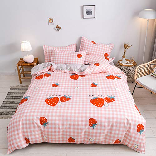 Kimko Kids Strawberry Bedding Set- Girls Reversible Red Strawberry Pattern & Pink Cover -4Pcs -1 Duvet Cover Set + 1 Bed Sheet + 2 Pillowcases (Twin, # Strawberry)