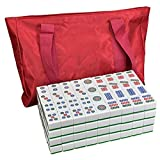 DFJU Jogos Mahjong Chinês Tradicional Mahjong Casa Lazer Mahjong Card Game portátil Cartão Mahjong Presente 144 Folhas Festa Casa Estilo Retro
