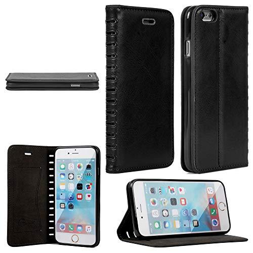 Gorilla Tech Funda para iPhone 6S Plus 6 Plus hecha a mano de cuero delgado + funda protectora Gorilla Glass Wallet Case Slim Diseño seguro