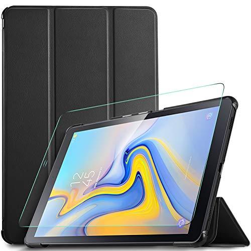 IVSO Custodia Cover con Pellicola Protettiva per Samsung Galaxy Tab A 10.5 T590/T595, Slim Smart Protettiva Custodia Cover in Pelle PU per Samsung Galaxy Tab A T590/T595 2018 10.5, Nero + 1 Pack