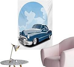 Anzhutwelve Cars Corridor/Indoor/Living Room Old Timer Vintage Automobile Collectors Revival Nostalgia American CultureBlue Pale Blue Black W32 xL36 Poster Print