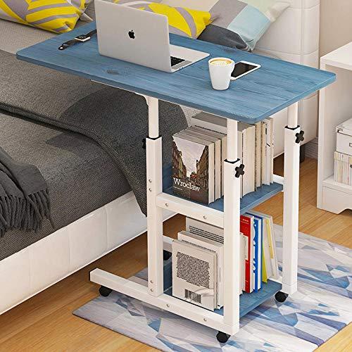TTXP Eisenrahmen Tablett Fürs Bett mit Blue Density Board,Höhenverstellbar, Abschließbare Rollen,Beitisch Mit Rollen für Krankenhaus Und Heimgebrauch