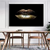 XJKJ Druck auf Leinwand Goldene Lippen Schwarz und Gold