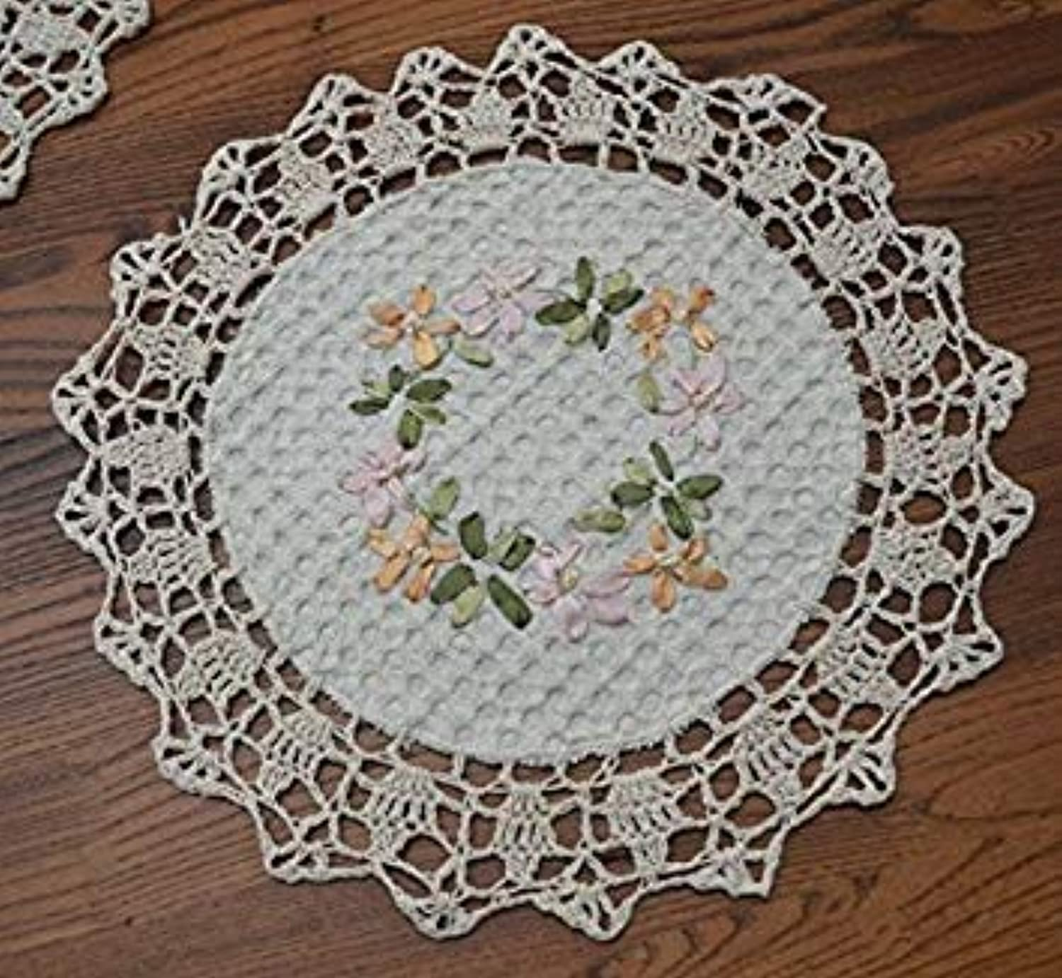 100% Cotton Hand Made Crochet with Hand Emboridery Doily mats Cup mat Coaster,30CM