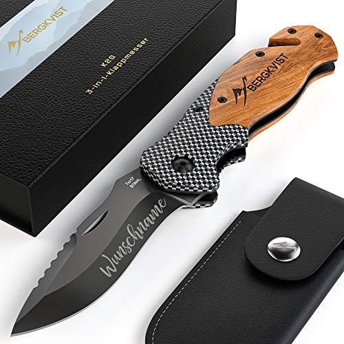 BERGKVIST® 3-in-1 Taschenmesser K20 Zweihand-Messer mit Gravur I Vatertagsgeschenk I Survival Knife & Outdoor-Messer mit Holzgriff inkl. Schleifstein & Gürteltasche