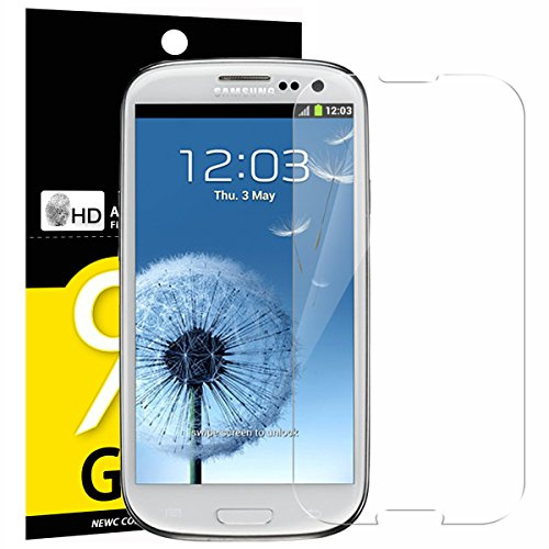 NEW'C 3 Unidades, Protector de Pantalla para Samsung Galaxy S3, Antiarañazos, Antihuellas, Sin Burbujas, Dureza 9H, 0.33 mm Ultra Transparente, Vidrio Templado Ultra Resistente