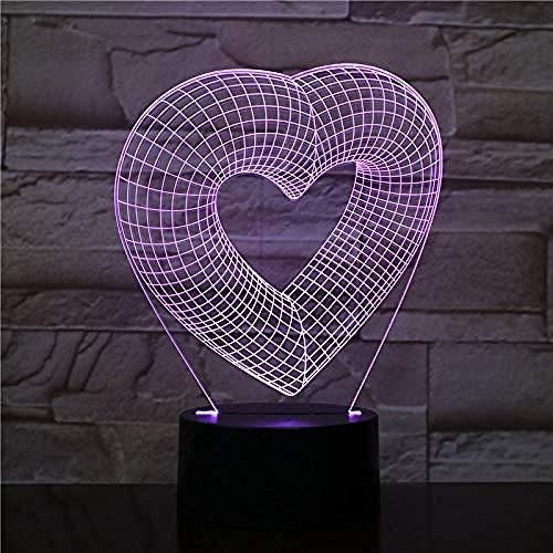Diaporama 3D-harten, creatief, 3D, LED, nachtlampje, slaapkamerdecoratie, cadeau, verjaardagscadeau, wekker, base, 7 kleuren, lamp, illusie-lamp, sfeerlicht, 7 kleuren
