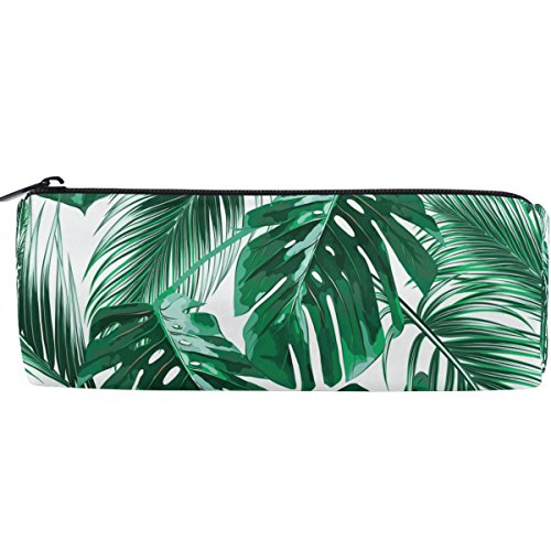 ALAZA Tropical Green Palm Leaves Pen Holder School Pencil Case Pouch Bag Stationery for Women Cosmetic Makeup Bag
