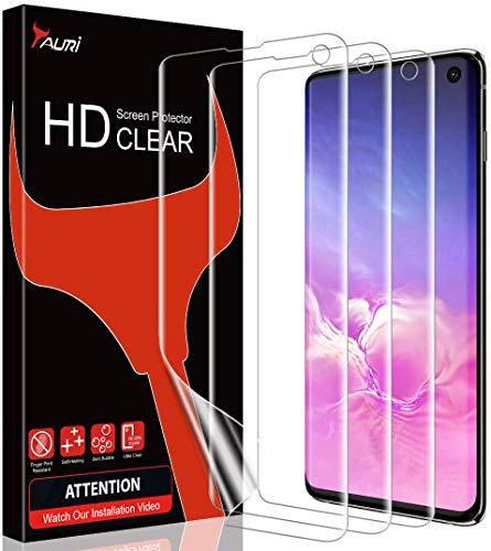 TAURI [3 Stück Schutzfolie für Samsung Galaxy S10, S10 Displayschutzfolie [Fingerabdruck-ID unterstützen] [Blasenfreie] [Klar HD] Weich TPU Folie