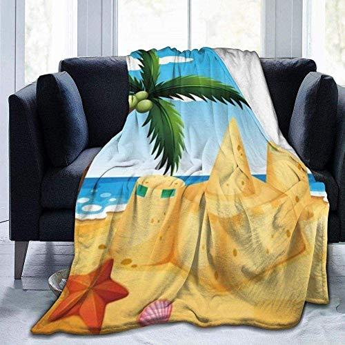 Manta de playa, diseño de casa de arena de dibujos animados, ligera, supersuave, cálida, cómoda, manta de forro polar para sofá, cama, sofá o silla infantil de 152 x 127 cm