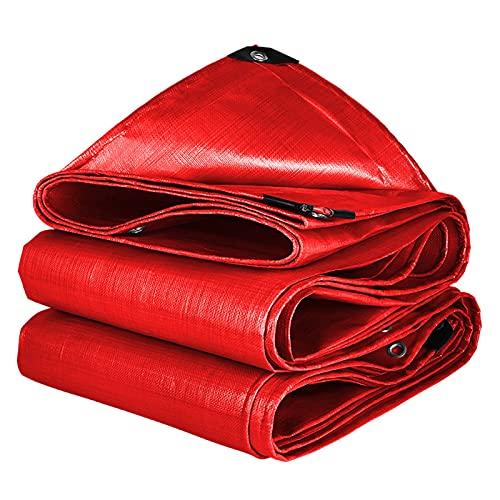 AWSAD Cubierta Lona Impermeable Lona Roja Multiusos con Ojal Suave Puede Plegar para Fácil Almacenamiento para Coches Jardín Al Aire Libre, 19 Tamaños (Color : Red, Size : 4x8m)