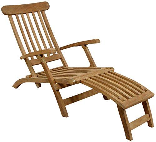 Holzliegestuhl massives Teakholz Deckchair Liegestuhl Gartenliege Holzliege Teak