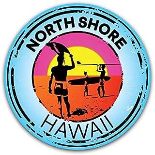 JMM Industries North Shore Hawaii Vinyl Decal Sticker 2-Pack 3-Inch Round Premium Quality Vinyl Sticker UV Protective Laminate PDS2039