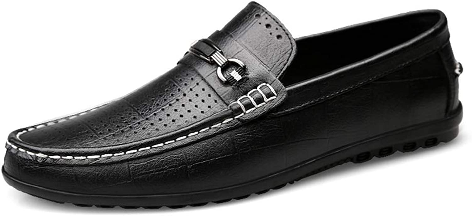 Men's shoes Casual Flat Loafers Spring Fall Summer Hole Comfort Loafers & Slip-Ons Lazy shoes Black Brown,B,43