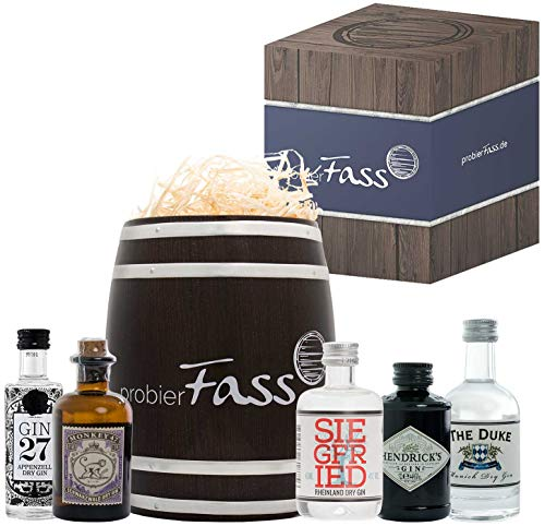 Gin Set mit 5 beliebten Gin Spezialitäten im Fass (3x50ml und 2x40ml) | Das perfekte Gin Geschenkset für Männer und Frauen