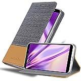 Cadorabo Hülle für HTC U12 Life in HELL GRAU BRAUN - Handyhülle mit Magnetverschluss, Standfunktion & Kartenfach - Hülle Cover Schutzhülle Etui Tasche Book Klapp Style
