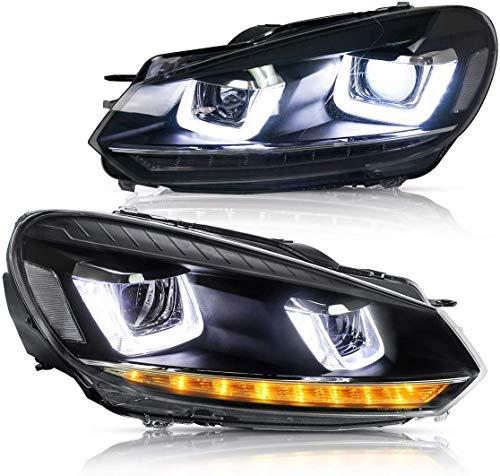 VLAND Hauptscheinwerfer für Golf 6 VI 2008-2013 LED Scheinwerfer Golf GTD TSI RHD Schwarz und Chrom Gehäuse