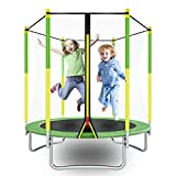 "AOTOB Kids Trampoline, 55"" Mini Trampoline for Kids with Enclosure Net and Safety Pad, Heavy Duty Frame Round Trampoline for Indoor Outdoor."