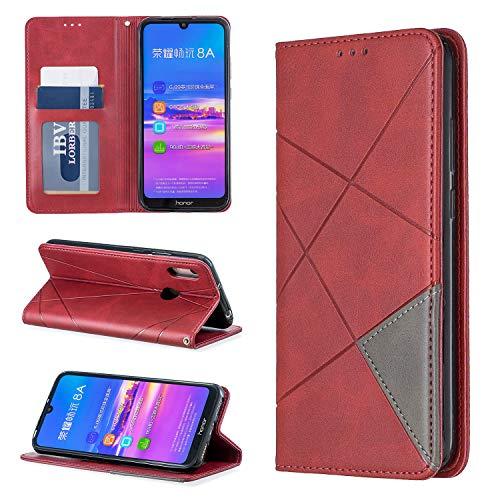 i-Hülle PU Lederhülle Brieftasche für Huawei Y6 2019 Book Style Handyhülle Rhombic Matte Oberfläche Magnet Etui Schutzhülle Handytasche Stand Kartenfach Flip Tasche Hülle für Honor Play 8A,Rot