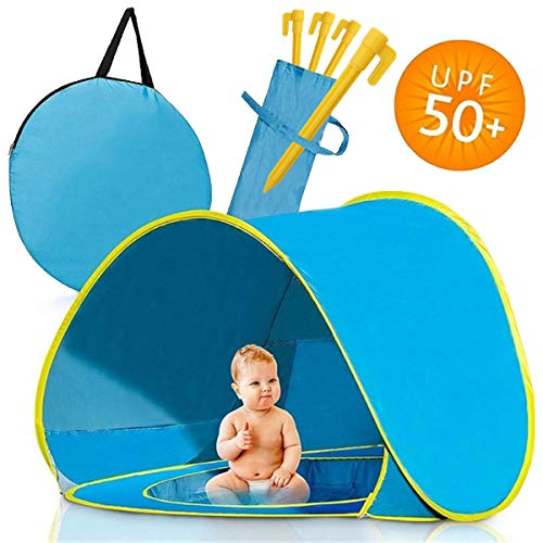 Homened Pop Up Baby Beach Tent, Portable Kiddies Shade Pool Tent 50 SPF UV Protection Sun Shelter Canopy for Infant Indoor and Outdoor Use (Blue)