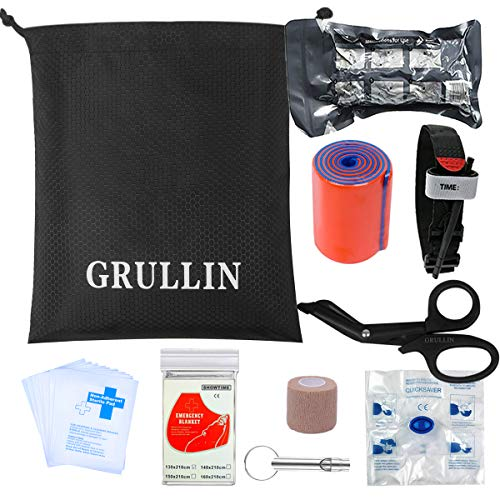 GRULLIN 38 Piezas Accesorios de Primeros Auxilios Kit complementario, Emergency Blanket, Vendaje Israelí, Torniquete(Kit de actualización)