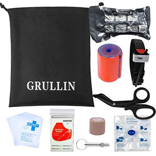 GRULLIN Erste-Hilfe-Zubehör 38-teiliges Ergänzungskit Rettungsdecke Pads Israeli Bandage Tourniquet (Upgrade Kit)