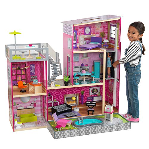"KidKraft Uptown Dollhouse with Furniture (49.25"" x 25.25"" x 46.25"")"