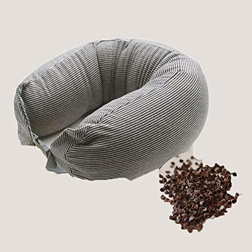 JONJUMP U Forma Collo Cuscini Cotone Grano saraceno Husk Cervicale Proteggere Striscia Cuscino Insonnia Sanitaria Biancheria Da Viaggio
