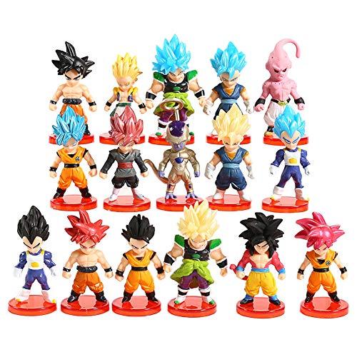 REYOK Dragon Ball Figure Toy 16Pcs Cake Toppers Giocattolo Goku Shadow Tails Personaggi Figure Giocattoli Bambola Fatta a Mano Bambola Compleanno Decorazione per Bambini Animali Giocattoli