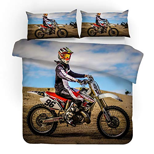 Motorrad Bettwäsche set,Motocross Wendemotiv, Microfaser Bettbezug mit Kissenbezug,Jungen Mädchen Kinder Bettwäsche Set,2/3 teilig (B,200X200CM)