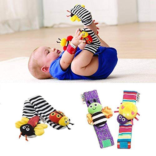 Find Cheap Eubell 4pcs/Pack Cute Animal Soft Baby Socks Toys Wrist Rattles and Foot Finders for Fun ...