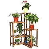 unho Plant Corner Stand 6 Tier Wood Shelf Indoor Outdoor Garden Patio Displaying Shelves Rack for Flowers Succulents Planter Pots