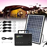 TUQI Portable Solar Generator with Solar Panel,Included 4 Sets LED Lights,Solar Power