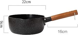 RYYAIYL Black Wooden Handle Saucepan Non-stick Pan Household Cooking Noodle Pot Small Milk Pot (Size : 22cm)