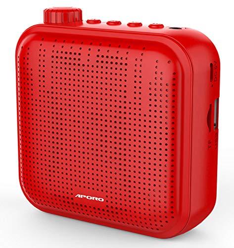 Amplificador de Voz, Sistema de PA Recargable de 12 Vatios (1200 mAh) con Micrófono con Cable para Profesores, Guía Turístico y más (Rojo)