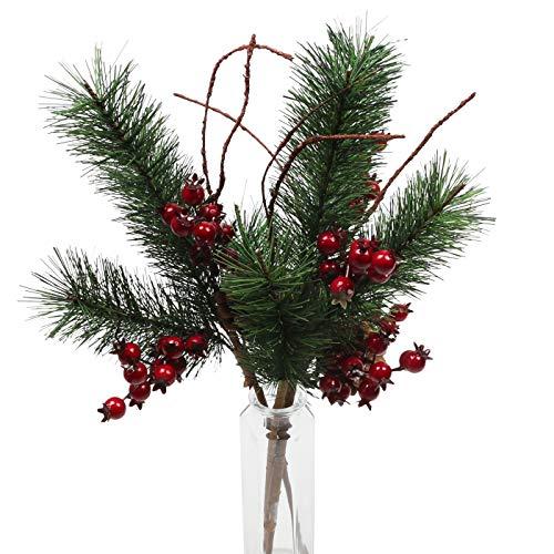 Famibay Künstlich Kiefernzweige Weihnachten Beere Tannenzweigen mit Tannenzapfen Kunstblumen Beerezweige für Weihnachtsbaum Weihnachtskränze Dekoration