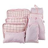 Belsmi Reise Kleidertaschen Set 8-teilig Reisetasche in Koffer Reisegepäck Organizer Kompression Taschen Kofferorganizer Mit Schuhbeutel (Rosa Streifen)
