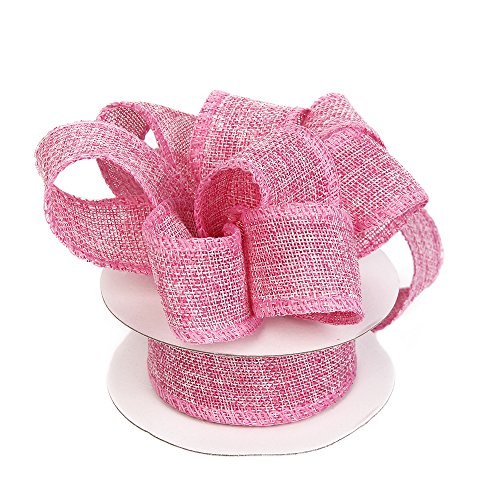 Burlap Ribbon Perfect for Wedding Home Decoration Gift Wrap Bows Made Handmade Art Crafts 1-1/2 Inch X 10 Yard Spool (Pink)