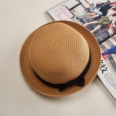 Sombrero Simple de Verano, Sombrero de Playa para Mujer, Informal, para Mujer, de ala Plana, con Lazo, Gorra de Paja para niñas, Sombrero para el Sol, Chapeu Feminino-Khaki 2-56-58cm