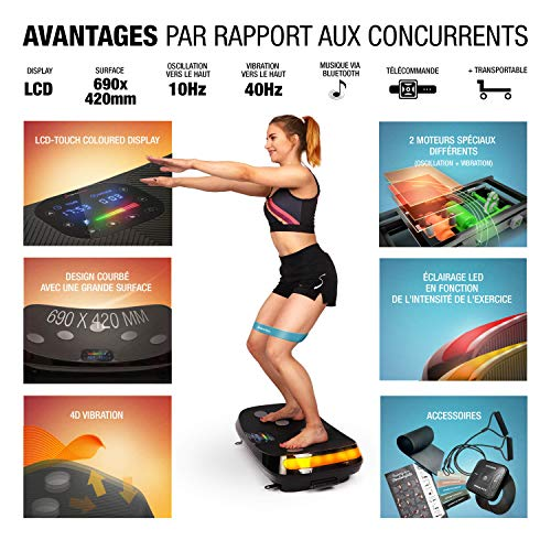 Nouveauté de la foire 2019 ! Plaque vibrante 4D VP400 au design courbé +vidéos d'entraînement, écran tactile couleur, technologie LED +montre à distance, bracelets d'entraînement & tapis de protection