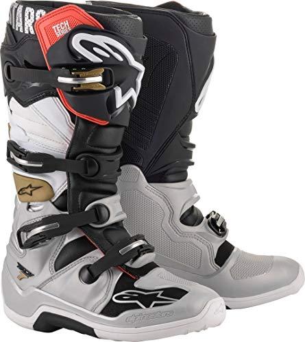 Alpinestars Unisex-Erwachsene Tech 7 Stiefel, Schwarz/Silber/Weiß/Gold, Größe 44 (Mehrfarbig, Einheitsgröße)