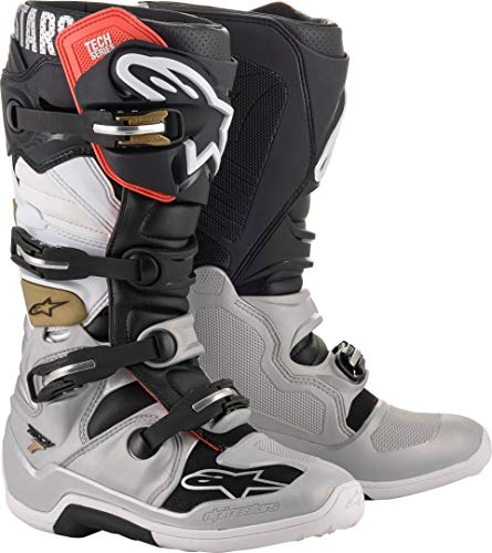 Alpinestars Men's Tech 7 Motocross Boot, Black/Silver/White/Gold, 10