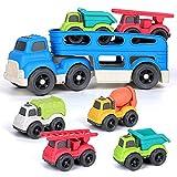 kramow Camion de Juguete para niños,Transportador de Coches con 4 vehículos de construcción de Juguetes,Educativos Juguetes Regalo 2 3 4 Años Niño Niña