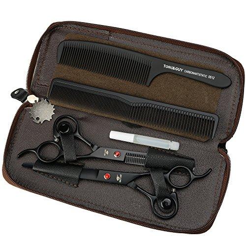 HEMATITE 7 pulgadas tijeras de peluquería profesional de titanio negro herramientas de peluquería, tijeras de corte y tijeras adelgazantes libre hermosa bolsos ...