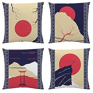 Sahvie's Treasures Throw Pillow Covers – Modern Throw Pillow Covers 18×18 – Set of 4 Soft Couch Pillow Covers – Blue and…