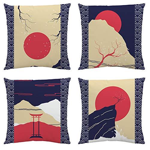 Sahvie's Treasures - Set di 4 federe per cuscini giapponesi, 18 x 18 cm, morbide federe per cuscini per divano – Set di cuscini decorativi per decorazioni giapponesi, unico blu e rosso
